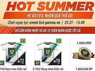 FIFA Online 4 chơi lớn tặng 1,000,000 BP cho tất cả game thủ với sự kiện Hot Summer