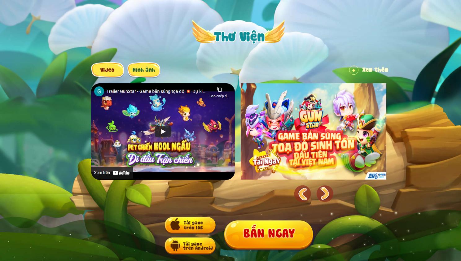 Trên website chính thức, mọi người có thể trải nghiệm game nhanh ngay trên tab 'BẮN NGAY'